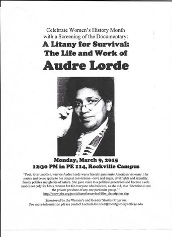 A Litany for Survival: The Life and Work of Audre Lorde Poster